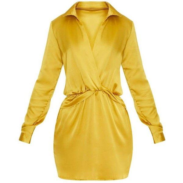 Katalea robe chemise en soie citron foncé à devant torsadé ($47) ❤ liked on Polyvore featuring intimates, chemises and dresses