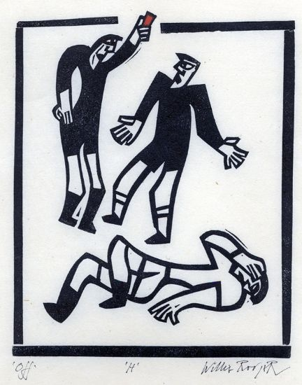 Another Willie Rodger's lino print.  JHW Fine Art  We are dealers in modern and contemporary British art. We present online exhibitions, either themed selections or with a focus on a single artist. We also exhibit at art fairs and occasionally present contemporary solo shows at Gallery 27 in Cork Street.   JHW Fine Art  Great Western Studios  65 Alfred Road  London  W2 5EU