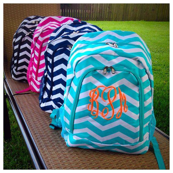 Monogrammed chevron backpacks