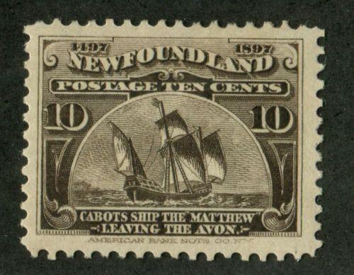Newfoundland-68-10c-Black-Brown-The-Matthew-1897-John-Cabot-Issue-VF-75-OG
