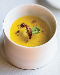 "Roasted Squash Soup with Maple-Glazed Bananas | ""It smelled like autumn in a bowl,"" said chef Gavin Kaysen, describing Tim Hollingsworth's fragrant, fabulous soup."