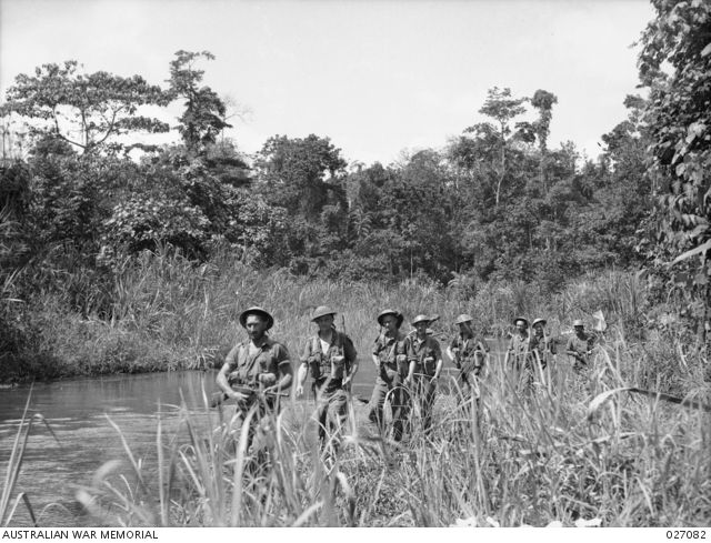 PAPUA, NEW GUINEA. 1942-10. A PATROL OF THE 2/31ST AUSTRALIAN INFANTRY BATTALION GOING ALONG THE BANKS OF THE BROWN RIVER AND MAKING THEIR WAY THROUGH THE TALL NATIVE CANE THAT GROWS IN THE SWAMPY ...