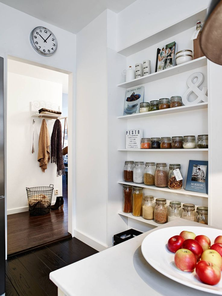 Architectures Light Wooden Floor Simple White Clock Herbs Spices Rack Storage Apple Simple Rail Hanger Brown Scarf Red Maroon Scarf Spices Jar White Colored Kitchen Wall Light and Large House Inspiration