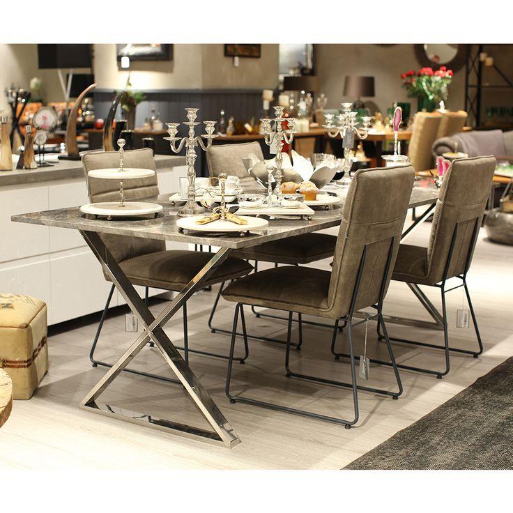 Çapraz Ayaklı Mermer Yemek Masası 240x100 cm