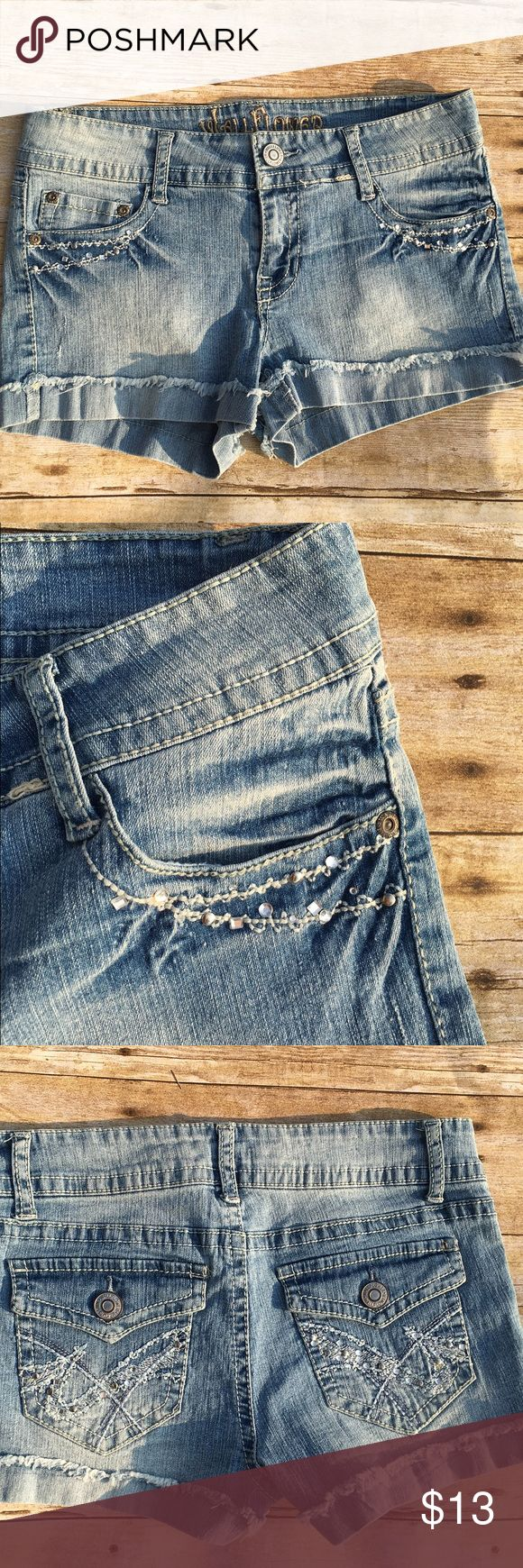 ❗️SALE❗️Jean Shorts Wallflower Jean Shorts with cute studs and rhinestone design on front and back pockets   Pre-owned, excellent condition  Waist: 28        Seat: 32 inches        Front Rise: 7 1/2 inches Wallflower Shorts Jean Shorts