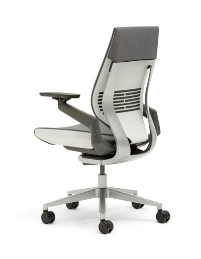 Without a conscious effort or some sort of aid, bending over a tablet or a laptop causes a degradation in healthy, upright posture.  The Gesture's spine articulates to move with the human form. The seat cushion flexes all the way to its edges to brace legs whether they're curled up, crossed or tucked under