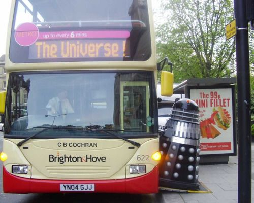 Dalek catching a ride on a Brighton & Hove City bus!
