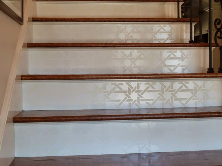 Staircase risers stenciled using Camel Bone Weave Moroccan Stencil | Royal Design Studio