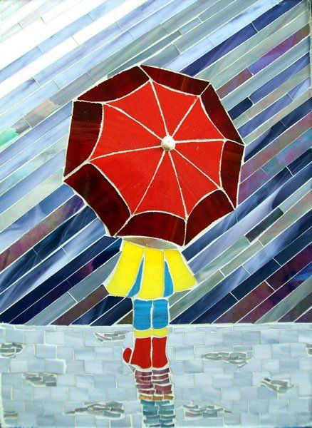 """Marilyn Place's """"Waiting for the Bus"""". What a cute mosaic art!"""