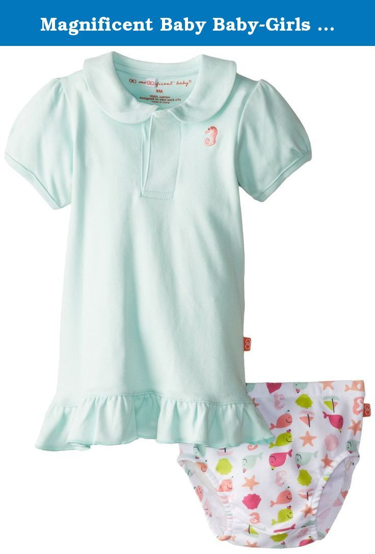 Magnificent Baby Baby-Girls Newborn Nantucket Polo Dress and Diaper Cover, Light Blue, 3 Months. Time saving smart close magnetic fasteners get baby dressed easily in our adorable coordinating polo dress and diaper cover set. Polo dress features adorable whale embroidery on chest. Diaper cover features our nautical nantucket themed print in pinks, blues and greens.
