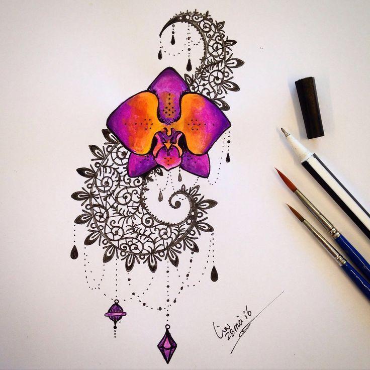"""Tattoo van de maand mei """"Bloem & Kleur"""" Deze maand de keuze uit 4 ontwerpen. Vraag naar de actie prijs. #tattoo #tattoos #tattooshop #dalinciart #zwijndrecht #color #flower #tattoodesign #orchidee #rainbowcolors #juwel #kant #lace"""