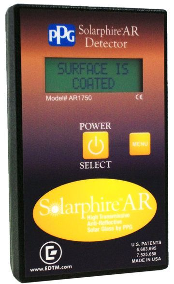 Detect #PPG #Solarphire® AR Coatings! The New PPG Solarphire®AR Coating Detector (Model # AR1750) will help you to find surface #4 coatings easily! The AR1750 allows the user to easily identify the coated side of the glass. Simply place the meter against the glass surface and push the button. The results will instantly be displayed on the LCD screen. Buy it here $269.00