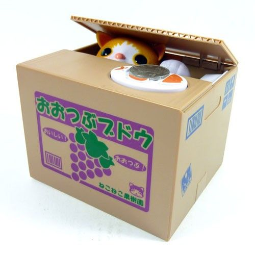Cute Cat Kitten Chatora Coin Bank Itazura Money Save Box Gift - Japanese Toy NEW || Click through and watch the movie.