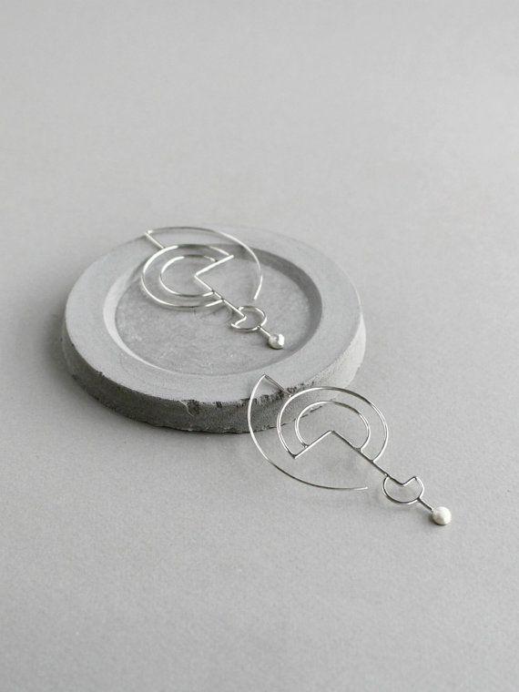 Argento orecchini geometrici scolpiti organici argento