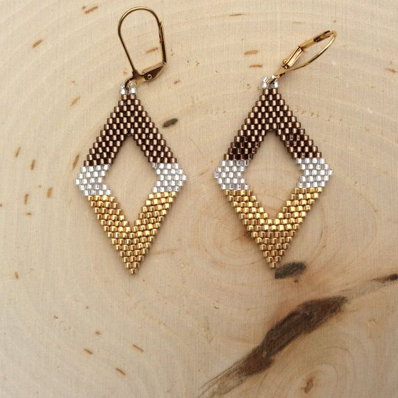 "Delica Beaded Earrings ""Salted Carmel"""