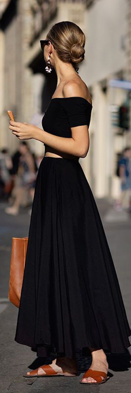 Off the shoulder tight crop top. High waist floor length skirt. sandals. For visiting the monuments.