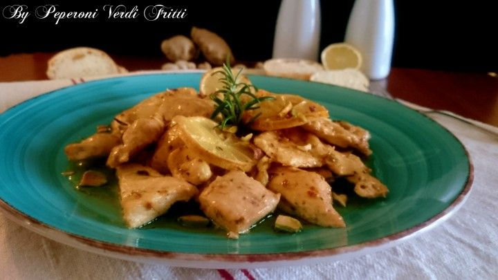 Pollo al limone zenzero e pistacchi | Peperoni verdi fritti
