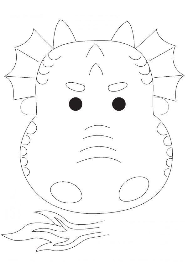 masque de dragon en noir et blanc