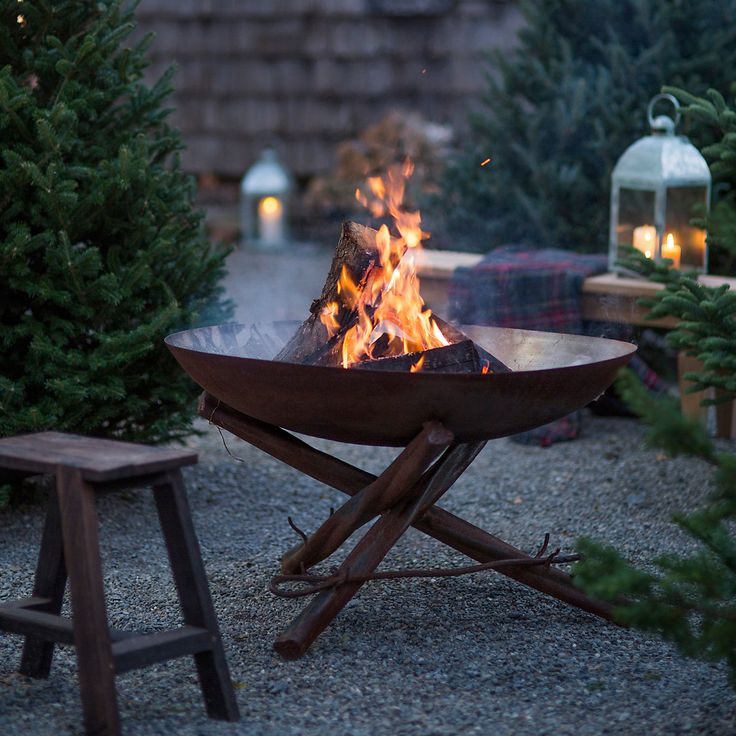Tabletop Log Base Fire Pit in Outdoor Living Fire Pits at Terrain