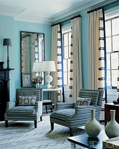 Steven Gambrel Hung Curtains With Bold Contrasting Trim Modeled After That On A Naval Uniform Gambrel Also Designed The Rug And The Club Chairs
