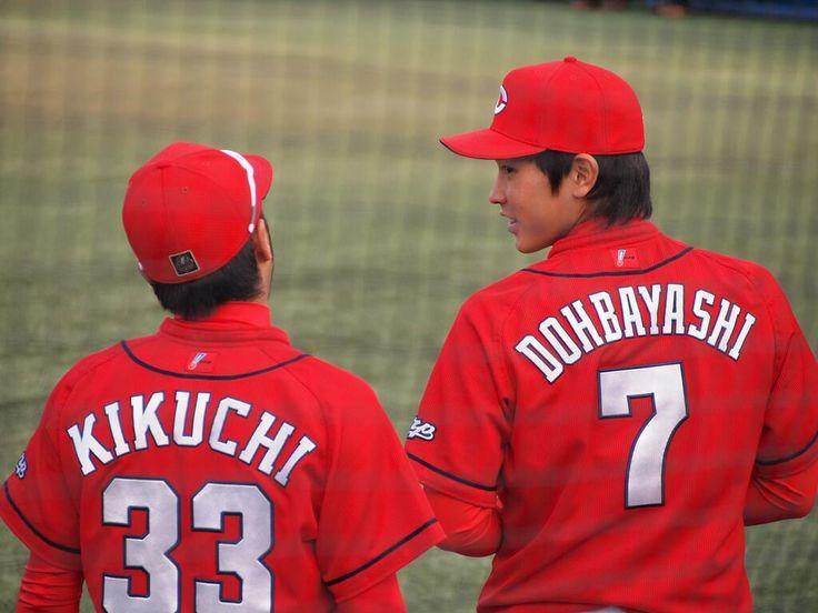 Twitter / MephistoFF: 2014.04.23 試合開始前の菊池選手と堂林選手. #c ...