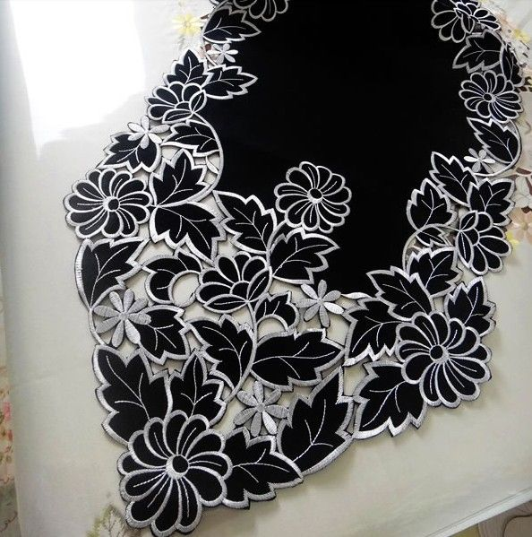2014 NEW DESIGN  Black style embroidery by hand hollow out table flag table runner for wedding dining room home hotel NO.726-in Table Runner...