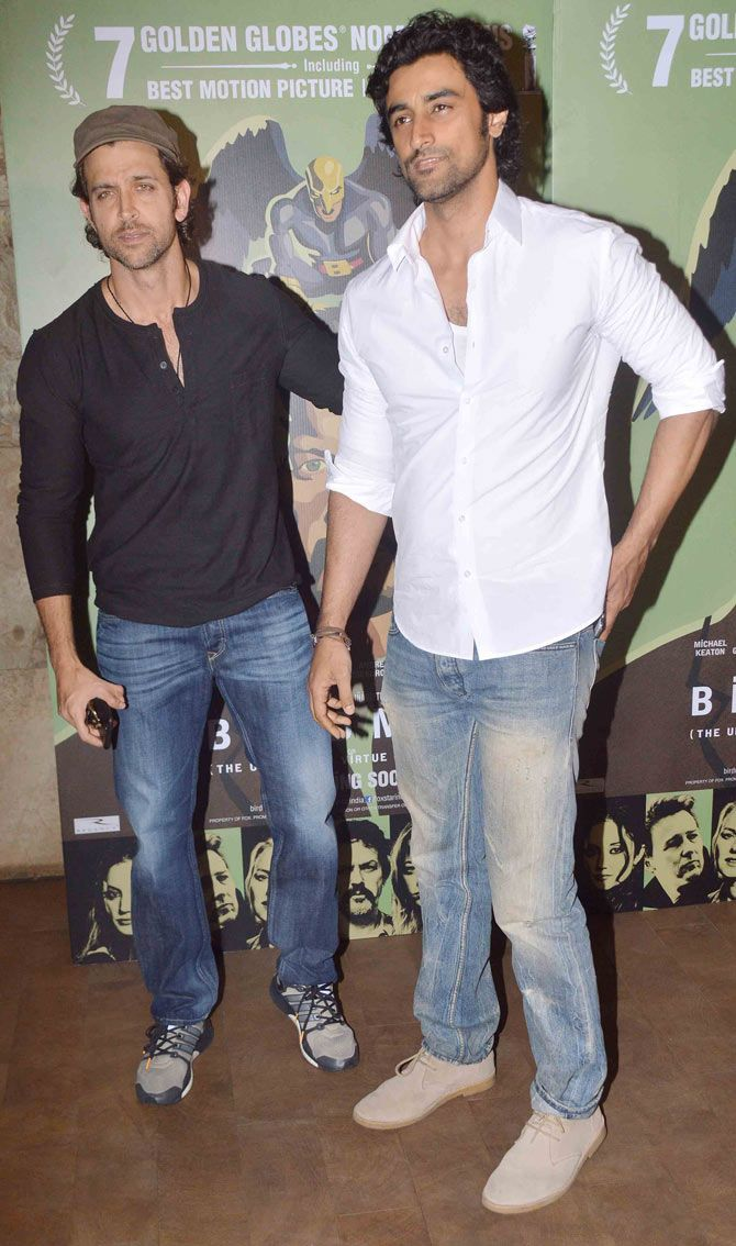 Hrithik Roshan with Kunal Kapoor at a screening of 'Birdman'. #Bollywood #Fashion #Style #Handsome