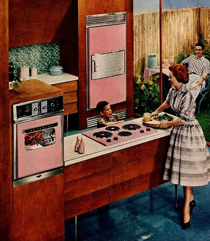 Mid-century modern pink electric kitchen.