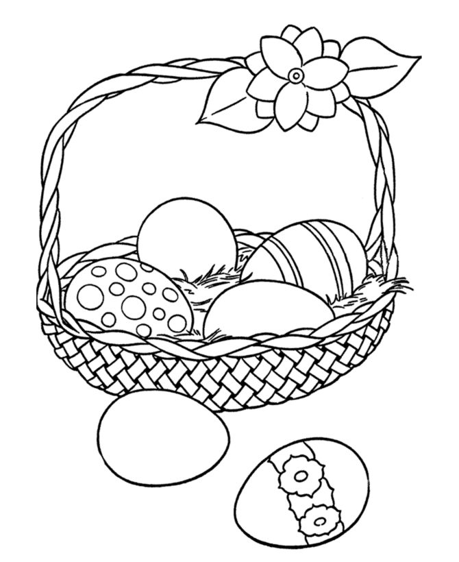 Easter Egg Coloring pages | Big Easter Basket with eggs
