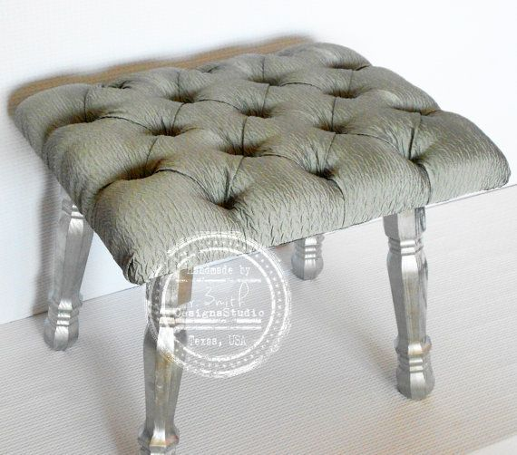 Vanity Stool Fancy Bench Bedroom Bench Tufted Bench Silver Furniture Ready To Ship On Etsy