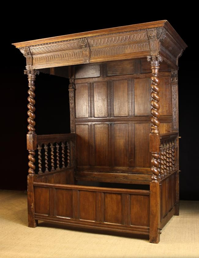 A 17th Century Flemish Renaissance Carved Oak Canopied Day