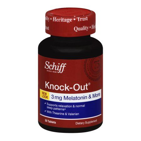 Schiff Knock-Out, 50 tablets - Natural Sleep Aid Supplement with Melatonin, Theanine and Valerian, Multicolor