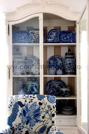 blue and white display against the stripe backed cabinet... simply FABULOUS