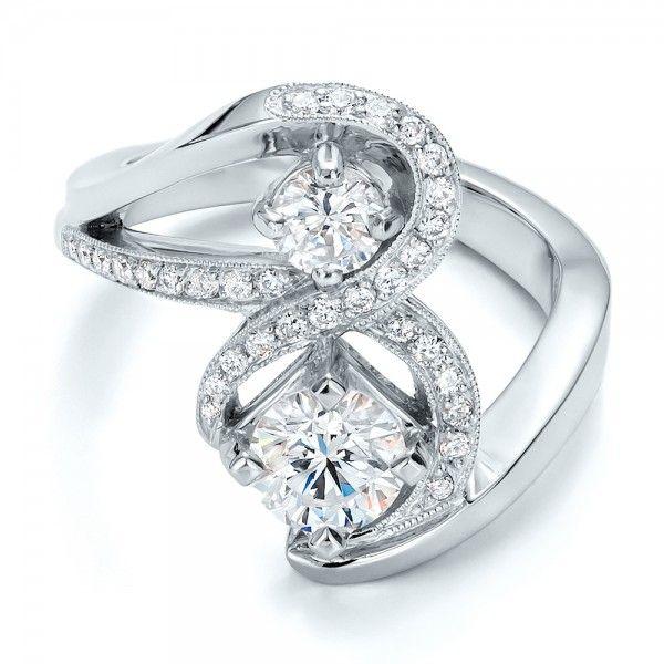 Custom Diamond Engagement Ring Platinum Ring 31 Diamonds Clarity: VS2 - Color: F-G