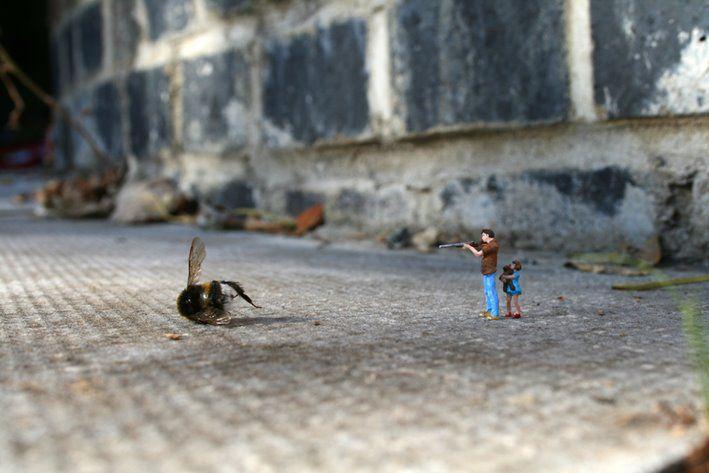 Tiny street art, by Slinkachu