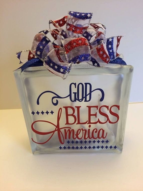 Glass Block  God Bless America by PBCreativeDesigns on Etsy, $25.00