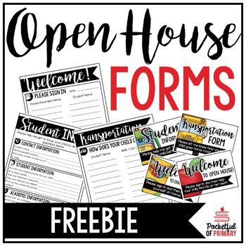 These FREE forms are perfect for displaying at an open house, meet the teacher night, or back to school night! This product also includes signs that can be displayed with the forms! THIS PRODUCT INCLUDES: - Sign in sheet - Transportation form - Student info form - Welcome signs (2 versions) - Transportation sign - Student info sign