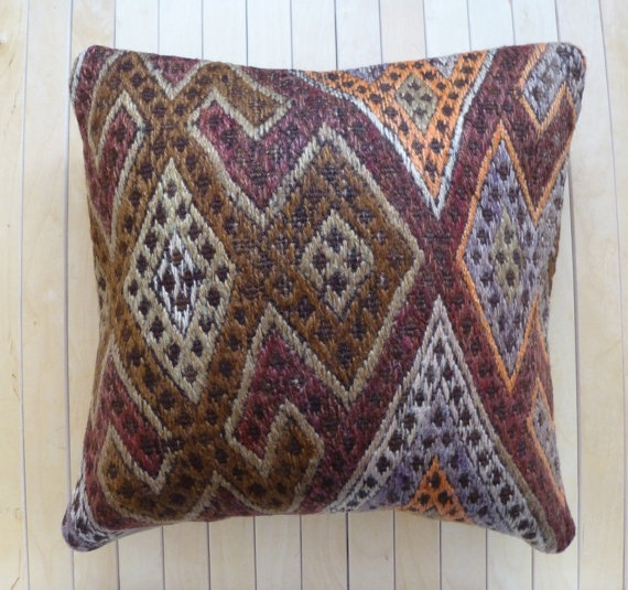 Gorgeous Throw pillow Wool hand woven Kilim by PillowTalkOnEtsy, $48.00