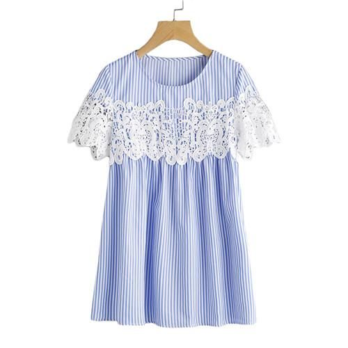 Lace Applique Striped Smock Top Cute Women Blouses Blue Striped Short Sleeve Casual Ladies Tops