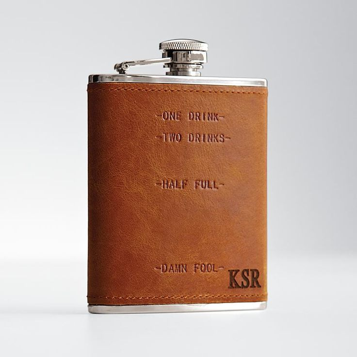 leather flask embossed with one drink two drinks half full and damn fool 3rd anniversary gifts3rd wedding