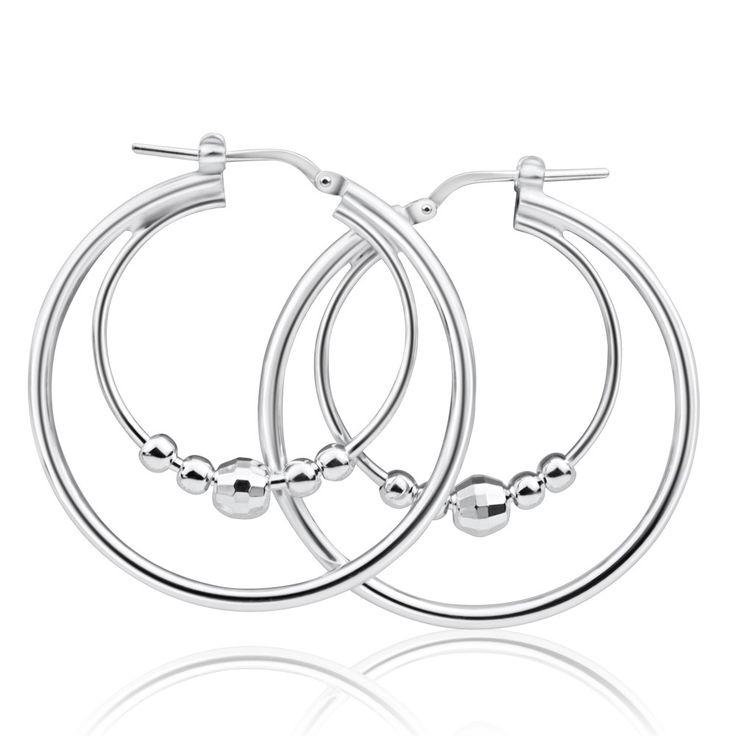 Double Hoop 5 Balls Sterling Silver Earrings