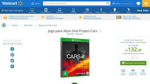 [Wal-Mart] Jogo para Xbox One Project Cars 3394316 - de R$ 203,90 por R$ 132,48 (35% de desconto)