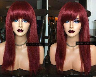 Peluca rojo de vino / / calor seguro recto Bang plena peluca / / Borgoña Cosplay peluca larga / / Yaki grosor Chemo textura peluca