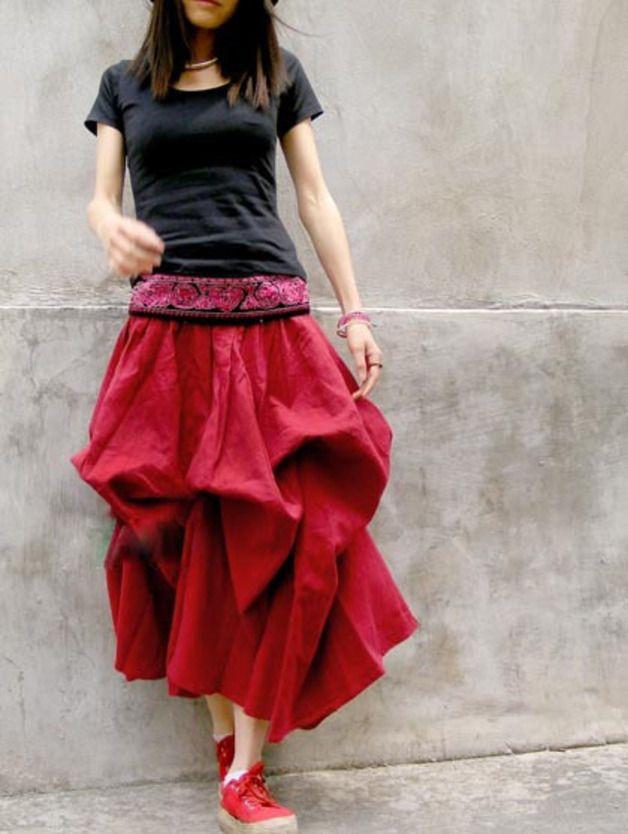 Maxi gonne - Scarlet Red Dual Use Long Skirt - un prodotto unico di buuki su DaWanda