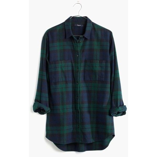 MADEWELL Flannel Oversized Boyshirt in Dark Plaid ($82) ❤ liked on Polyvore featuring tops, black watch, oversized button down shirt, oversized flannel shirt, shirts & tops, black top et black flannel shirt