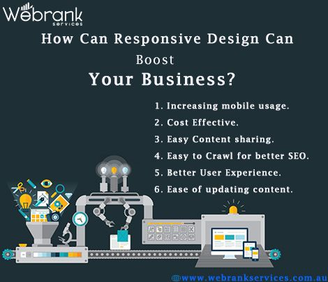 How can Responsive design can boost your business? Making your site responsive can help you in boosting your business especially when mobile users are considered as one of your target audience.Customers are searching for your business from their mobile phones, and you need to engage them with a mobile experience designed for completing on-the-go tasks from their small screens. And, Google Says Your Site Should Be Mobile-Friendly. http://webrankservices.com