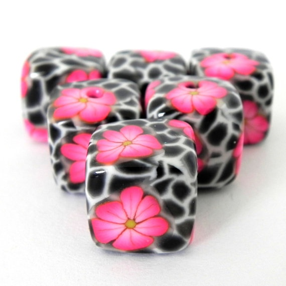 6 Square Handmade Polymer Clay Beads Pink Flowers On By