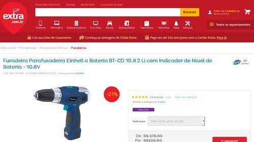 [Extra.com.br] Furadeira Parafusadeira Einhell a Bateria BT - CD 10.8 2 Li com Indicador de Nivel de Bateria - 10.8V 391950 - de R$ 249,91…