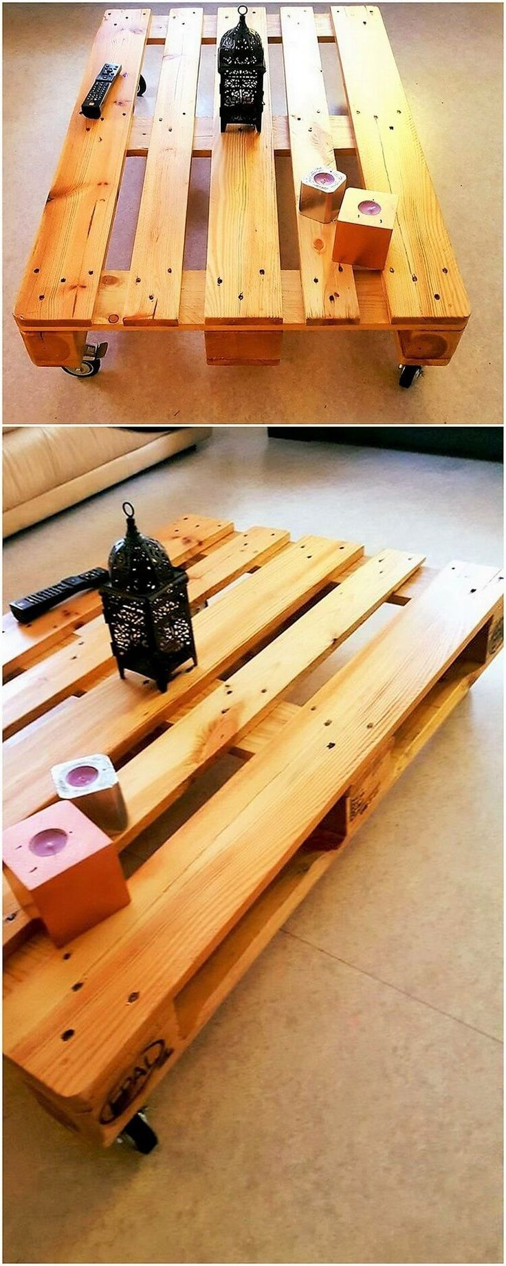 You can brilliantly make the use of the wood pallet for the perfect decoration project of the wood pallet rolling table. We are sure that this image will be giving you a lot inspirational idea to learn about this concept! You will be arranging the planks of wood pallet as it is but afterwards you will add attractiveness into it through artwork over it.
