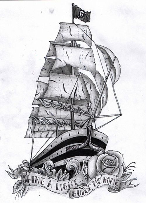 Traditional Pirate Ship Tattoo On Man Neck
